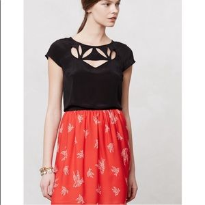 Anthropology Maeve cut out petal top black 0